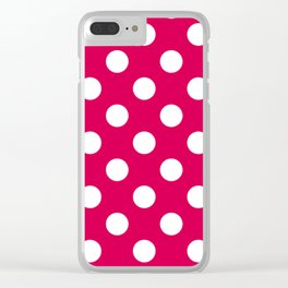 UA red - fuchsia - White Polka Dots - Pois Pattern Clear iPhone Case