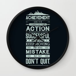 Lab No. 4 Achievement Seems To Be Conrad Hilton Inspirational Quotes Poster Wall Clock
