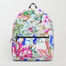 Modern watercolor floral and gold triangles pattern Backpack