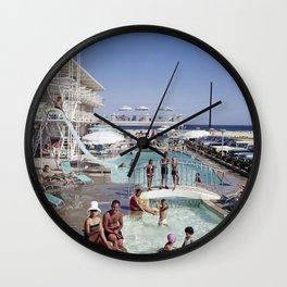 Shalimar Motel Pool in the 1960's. Wildwood, New Jersey Wall Clock