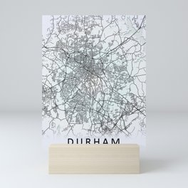 Durham, NC, USA, White, City, Map Mini Art Print