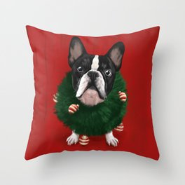 Christmas Bulldog Throw Pillow