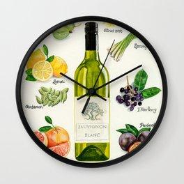 WHITE WINES - Flavors in Sauvignon Blanc Wall Clock