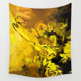 Yellow Lily Golden Light Flower Maelstrom Wall Tapestry