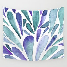 Watercolor artistic drops - purple and turquoise Wall Tapestry