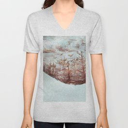 Tossed by the Wind metallic watercolour by CheyAnne Sexton Unisex V-Neck