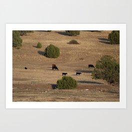 Utah Cows and Trees Art Print