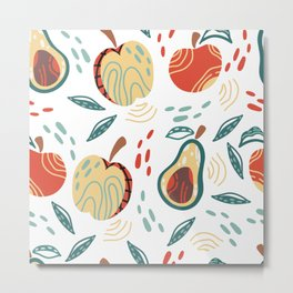 Avocado, Apple & Abstract Metal Print