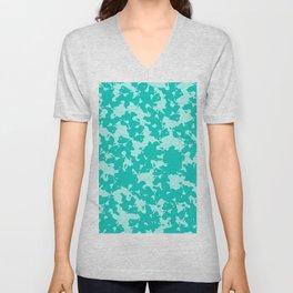 Blue Green Abstract Unisex V-Neck
