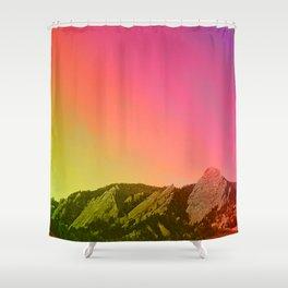 Boulder Colorado Flatirons Decor \\ Chautauqua Park Sunset Red Yellow Photo Nature Bohemian Style Shower Curtain