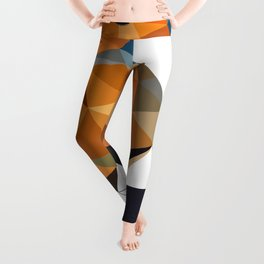 Chaffinch Bird art Geometric artwork Orange brown and blue Leggings