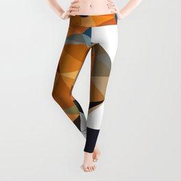 Chaffinch Bird art Geometric artwork Orange brown and blue Leggings