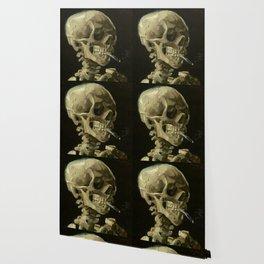 SKULL OF A SKELETON WITH BURNING CIGARETTE - VINCENT VAN GOGH Wallpaper