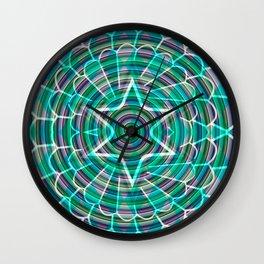Green spiral abstraction Wall Clock