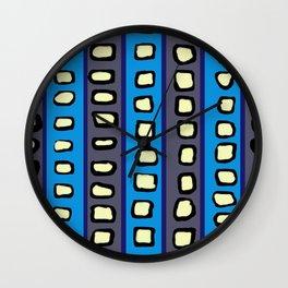 Lines and Circles Dark Gray and Blue Wall Clock