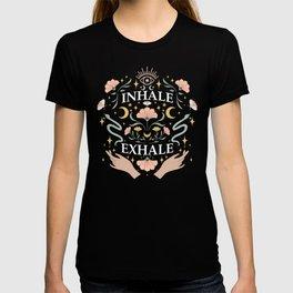 Breathe, inhale exhale yogi zen master poster black T-shirt
