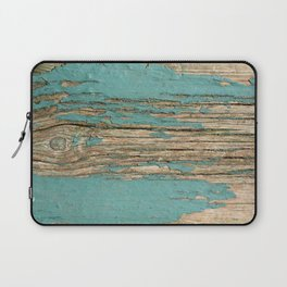 Rustic Wood Ages Gracefully - Beautiful Weathered Wooden Plank - knotty wood weathered turquoise pai Laptop Sleeve