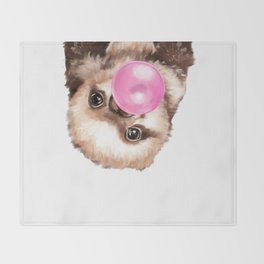 Baby Sloth Playing Bubble Gum Throw Blanket