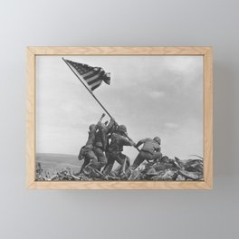 Raising The Flag On Iwo Jima Framed Mini Art Print