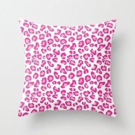 Leopard-Pinks on White Throw Pillow