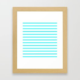 Horizontal Lines (Aqua Cyan/White) Framed Art Print
