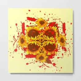 CAUTION: DANGEROUS SUNFLOWERS YELLOW-RED ART Metal Print