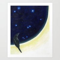 Perched on the Moon -The Groundbird Art Print