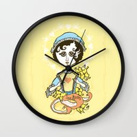 jane austen Wall Clocks featuring Jane Austen Holy Writer by roberto lanznaster