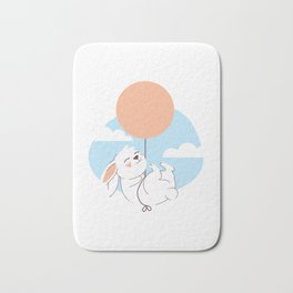 Happy Rabbit on a Flying Balloon Bath Mat