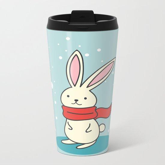 Winter Rabbit Metal Travel Mug