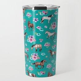 Horse Pattern, Floral Print, Turquoise, Little Girls Room, Horses Travel Mug