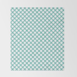 Polka dots - turquoise and white Throw Blanket