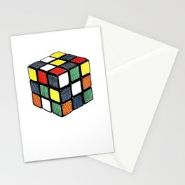 Hand Coloured Rubik's Cube Drawing Stationery Cards