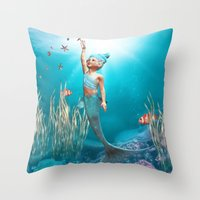the little mermaid Throw Pillows featuring Little Mermaid by Simone Gatterwe