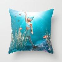 little mermaid Throw Pillows featuring Little Mermaid by Simone Gatterwe