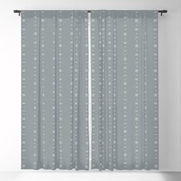 Dashes & Dots - Simple Dot & Line Pattern- Blue Gray Blackout Curtain