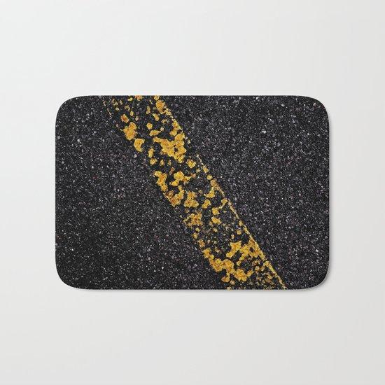 Old Yellow painted line on asphalt road Bath Mat