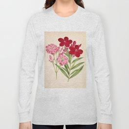 Nerium Oleander Vintage Scientific Floral Illustration Long Sleeve T-shirt