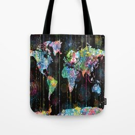 world map mandala black 1 Tote Bag