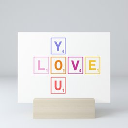 Scrabble love you Mini Art Print