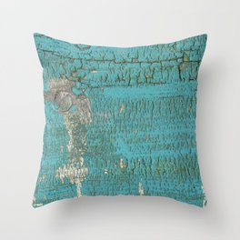 Rustic Wood with Bright Turquoise Paint Weathered Aged to perfection Throw Pillow