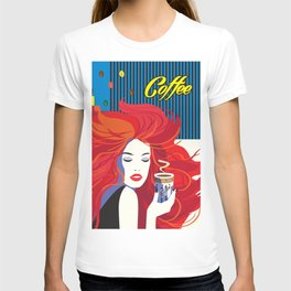 """Beautiful Fashion Woman and Coffee Cup"" POP-ART poster, Retro, Design T-shirt"
