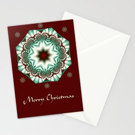 Decorative Christmas patterns in red, green and white Stationery Cards