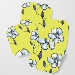 Modern Floral - Yellow Background Coaster