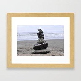 Inukshuk on the beach Framed Art Print