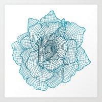 Rose Framework (Teal Edition) Art Print