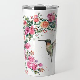 Hummingbird and Flowers Watercolor Animals Travel Mug