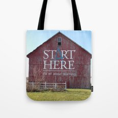 Start Here, It's All About Learning Tote Bag