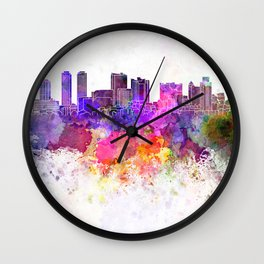 Colombo skyline in watercolor background Wall Clock