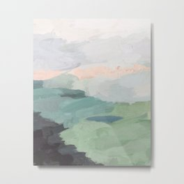 Seafoam Green Mint Black Blush Pink Abstract Nature Land Art Painting Metal Print